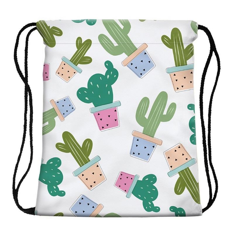 Swimming Cartoon Cactus Print Drawstring Beach Bag Sport Gym Cactus Print Backpack Travel School Bag