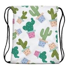 Swimming Cartoon Cactus Print Drawstring Beach Bag Sport Gym Cactus Print Backpa