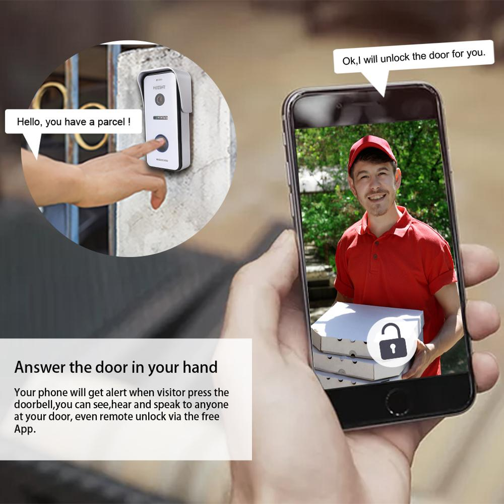 TMEZON Wired Wifi Video Door Phone Intercom 720p Outdoor Camera Waterproof Wide View Doorbell