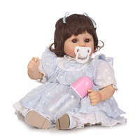 1948cm bebe alive reborn silicone dolls light blue customs soft body educational toy vivid girl Handmade DIY Xmas Gifts
