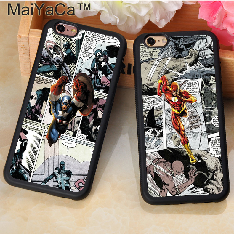 MaiYaCa DC Marvel Character Flash Comic Collage Phone Case Coque For iPhone 6 6S Plus 7 8 Plus X 5 5S SE Soft Rubber Case Cover