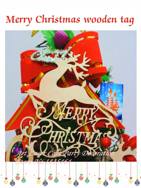 10pcs Christmas Tree Decoration Deer Wooden Tags Christmas Ornaments ...