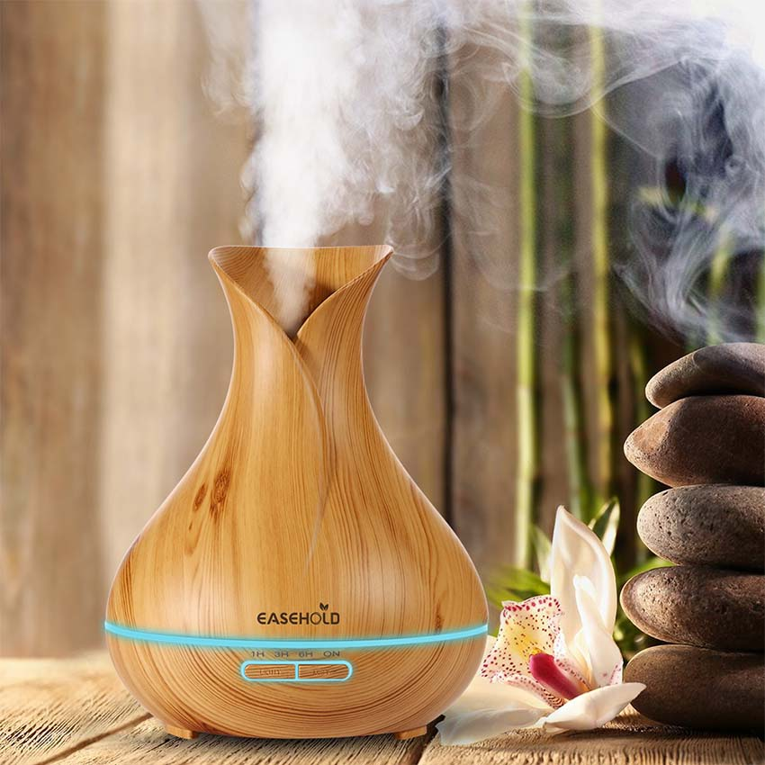 EASEHOLD 400ml Aroma Essential Oil Diffuser Ultrasonic Air Humidifier 7 Color Changing Auto Shut Off 10H Working Time Wood Grain