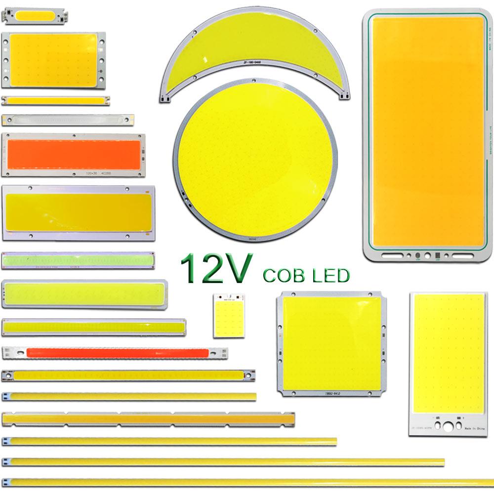 10pcs COB Strip 12V LED Light 2W 5W 10W 20W 30W 50W 200W LED Bulbs DC12V COB Chip Warm Nature Cold White Blue Red Color For DIY
