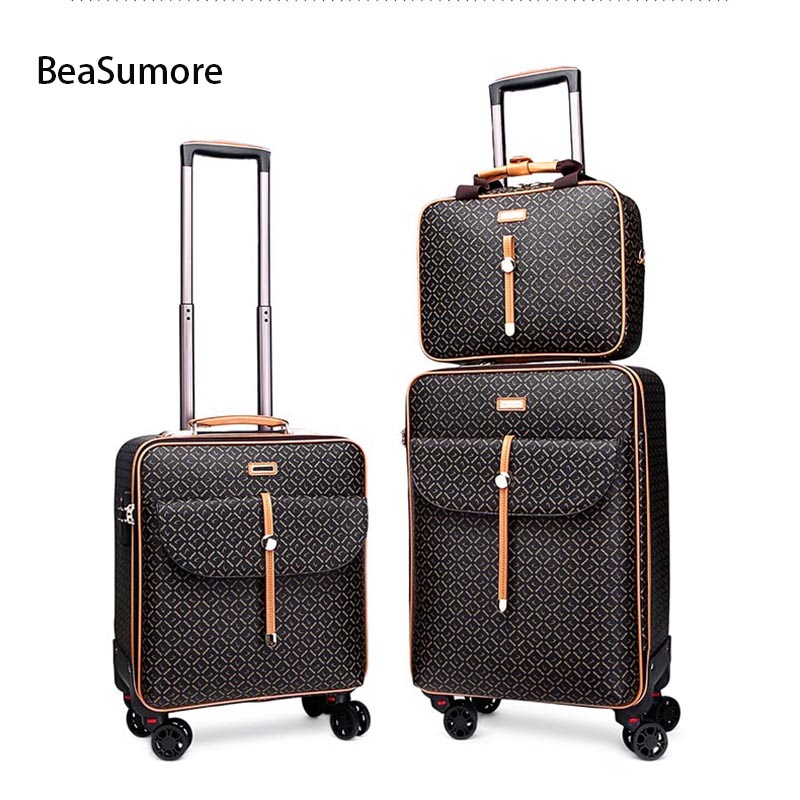 BeaSumore Fashion Retro PU Leather Rolling Luggage Sets Spinner Women Suitcase Wheels Travel Bag Trolley 16/20 Inch Cabin Trunk