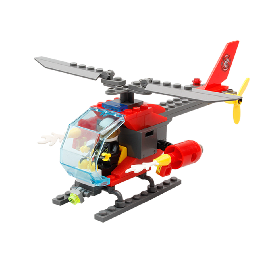 Toys & Hobbies 83pcs Firefighting Fire Helicopter Car Fireman Diy Building Blocks Compatible City Educational Brick Toys For Children
