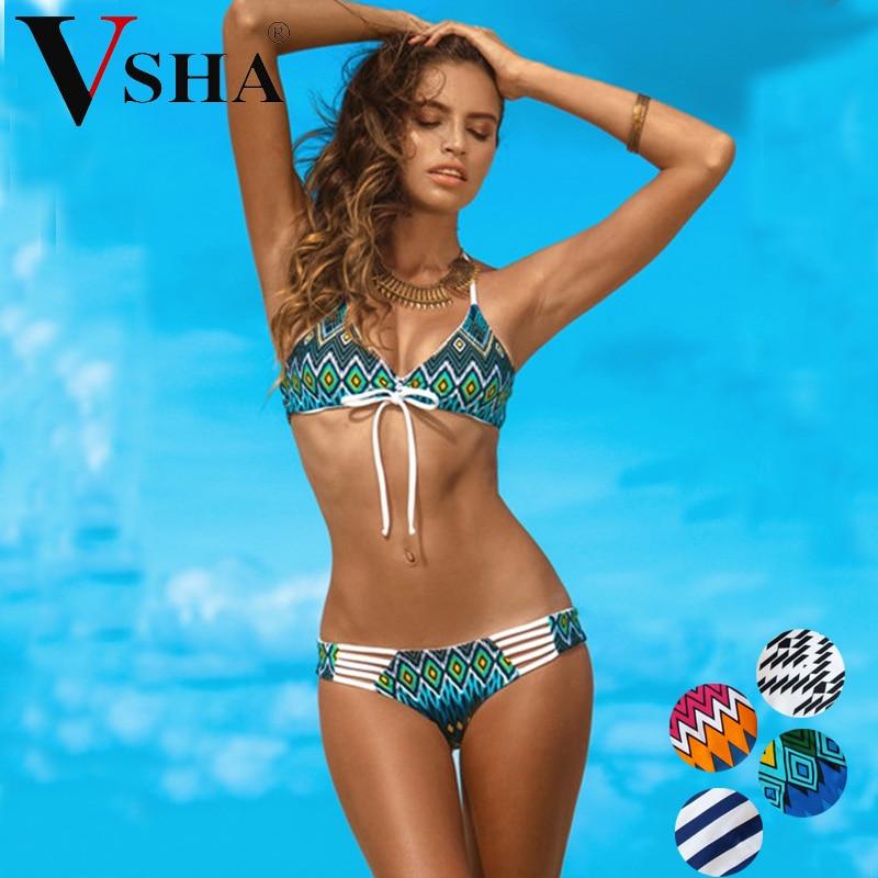 Vsha Sexy Brazilian Model Sexy Bikini Set Women Low Waist Swimsuit S M L Size Two Piece Suit Summer Charming Swimming Beach Wear 2016 new summer bikini vintage halter printed low waist two piece bikini set for women