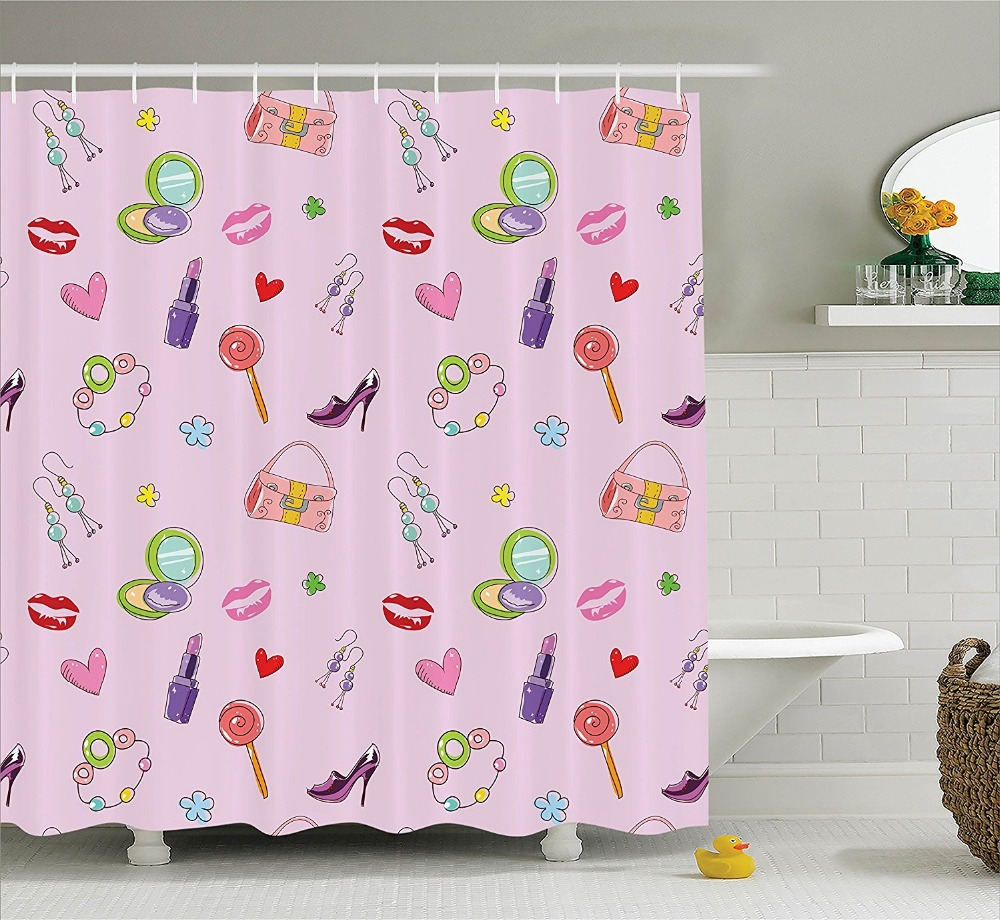 Aliexpress Buy Girly Shower Curtains Cosmetic Perfume And Lipstick Nail Polish Brush Printing Decorative Polyester Fabric Bathroom From