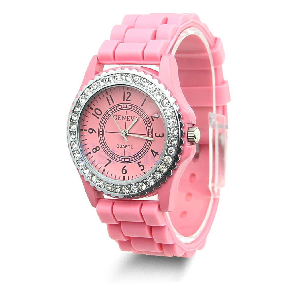 1 pc 14 colors fashion silicone geneva watch hot selling women dress watch women rhinestone for Watches geneva