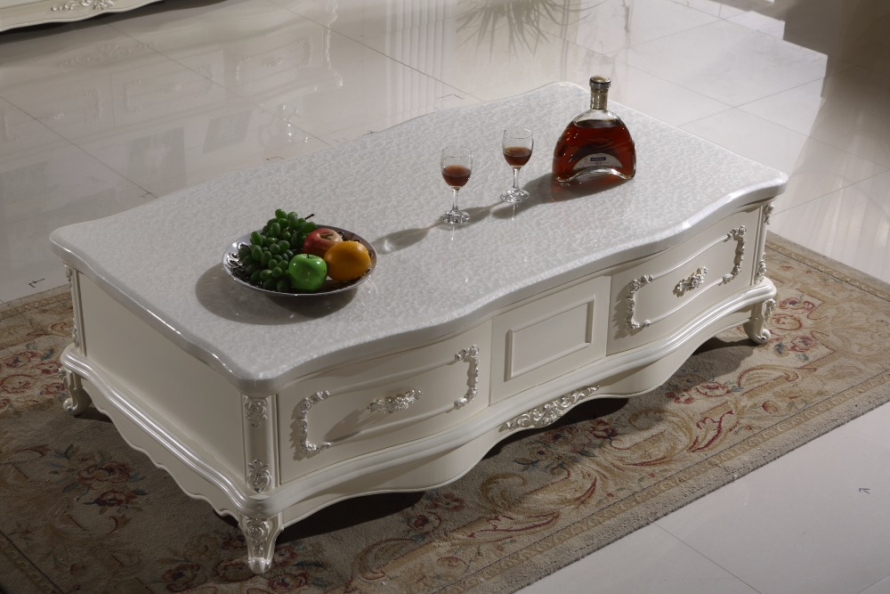 White Wooden Coffee Table Storage Drawer Marble Top Made In China Living Room Furniture In