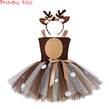Baby Toddler Girl Birthday Party Dress Autumn Christmas Suit Halloween Cute Deer Animal Costume Set Tutu