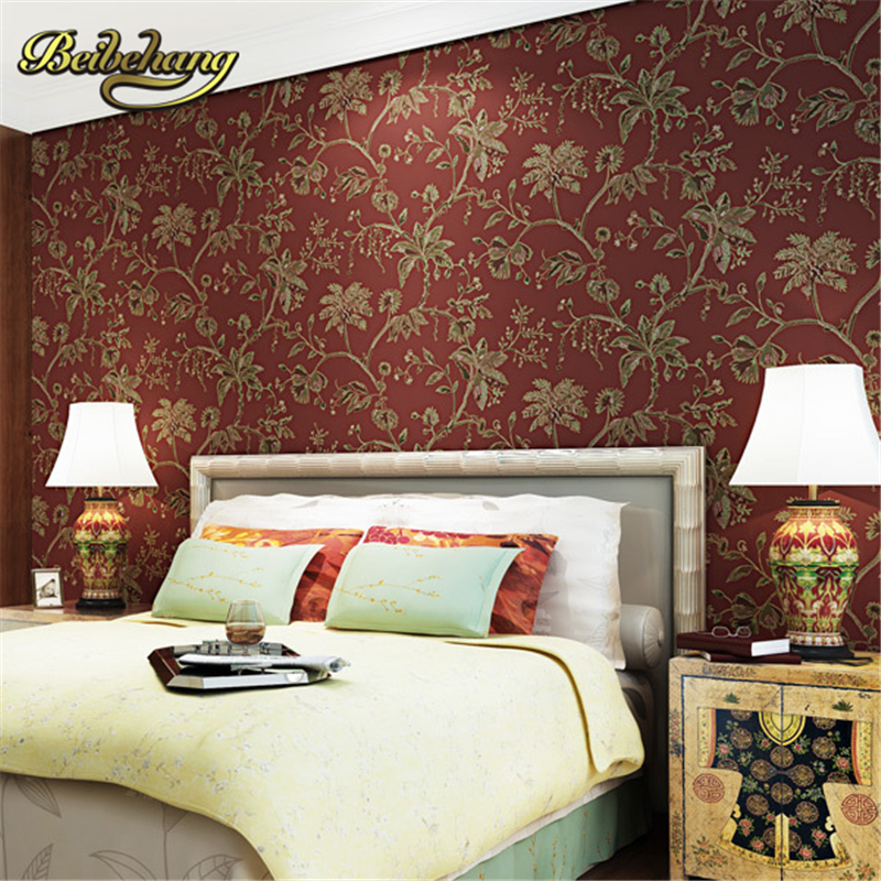beibehang wall paper. Puna American country flower wallpaper Non-woven wallpaper backdrop living room bedroom bedside shipping