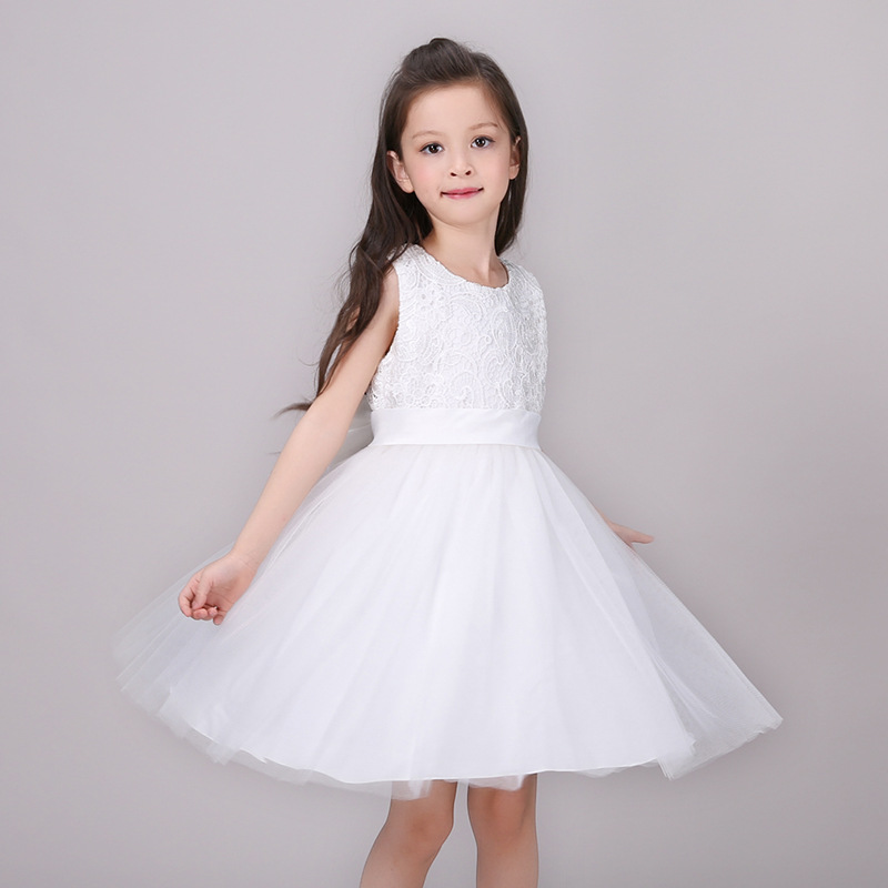 Toddler Girl Summer Korean Sleeveless O-neck White Lace Organza Big Bowknot Decor Elegant Christening Ball Gown Formal Dress fashionable girl s sleeveless bowknot design white ball gown dress