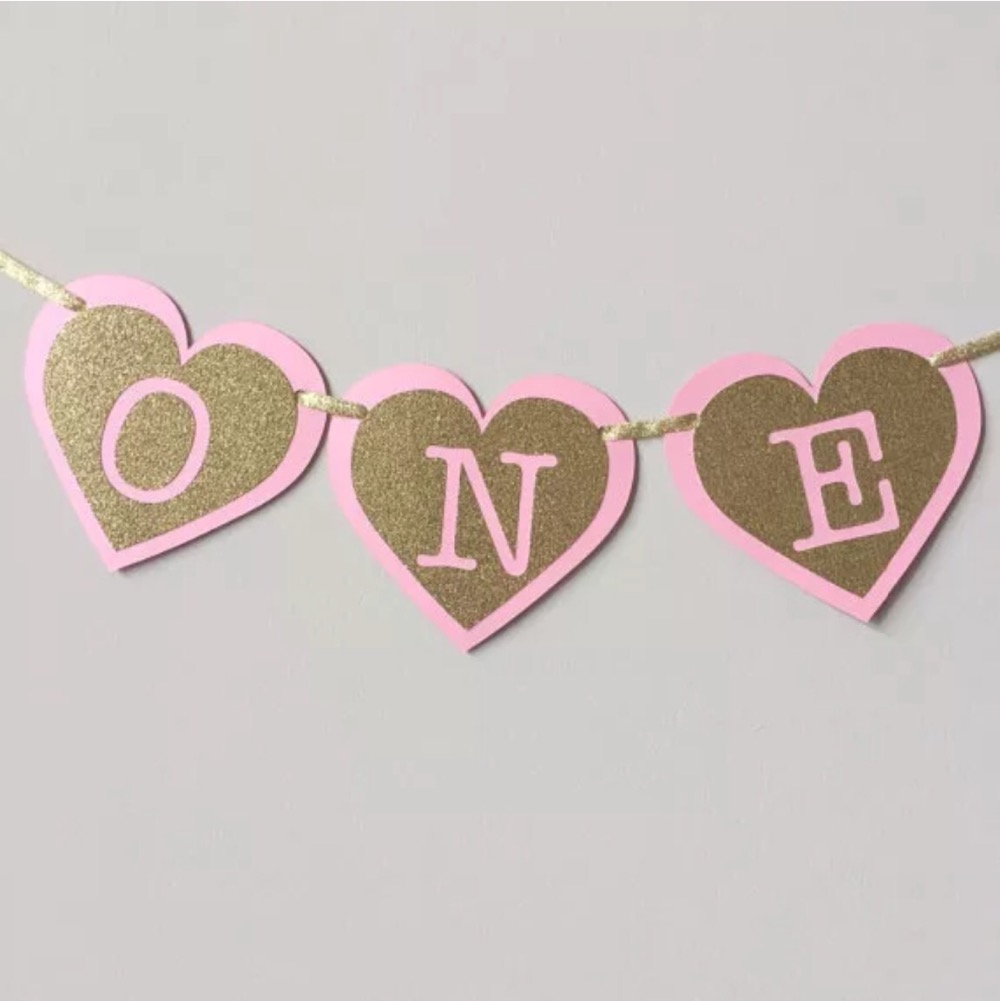 Hot Gold Glitter ONE Baby Pink Heart Highchair Bunting Kids First