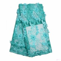 High Quality African French Lace Fabric With Beads And Stones green embroidery Nigeria Tulle Lace Fabric  f16101817