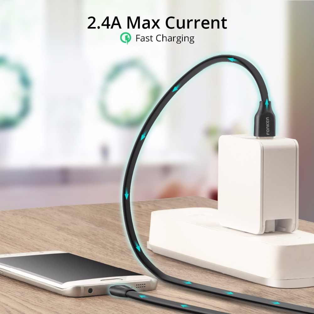 FONKEN Micro USB Cable Flat Noodle Max 2.4A Fast Charger Charging Data Cord Anti-Winding Quick Charge for Mobile Phone Cables