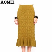 Women Winter Skirt Knit Knee Length Ruffles Skirts 2019 Spring Office Ladies Jupes Workwear Clothing Vintage Elegant Fall Faldas