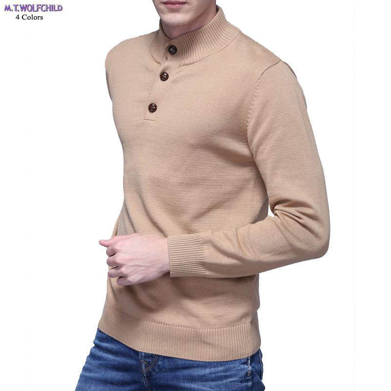 Mens sweaters 2018 Autumn mens long sleeve stand-collar knitted sweaters casual mens 100% cotton knitted coats mens clothing