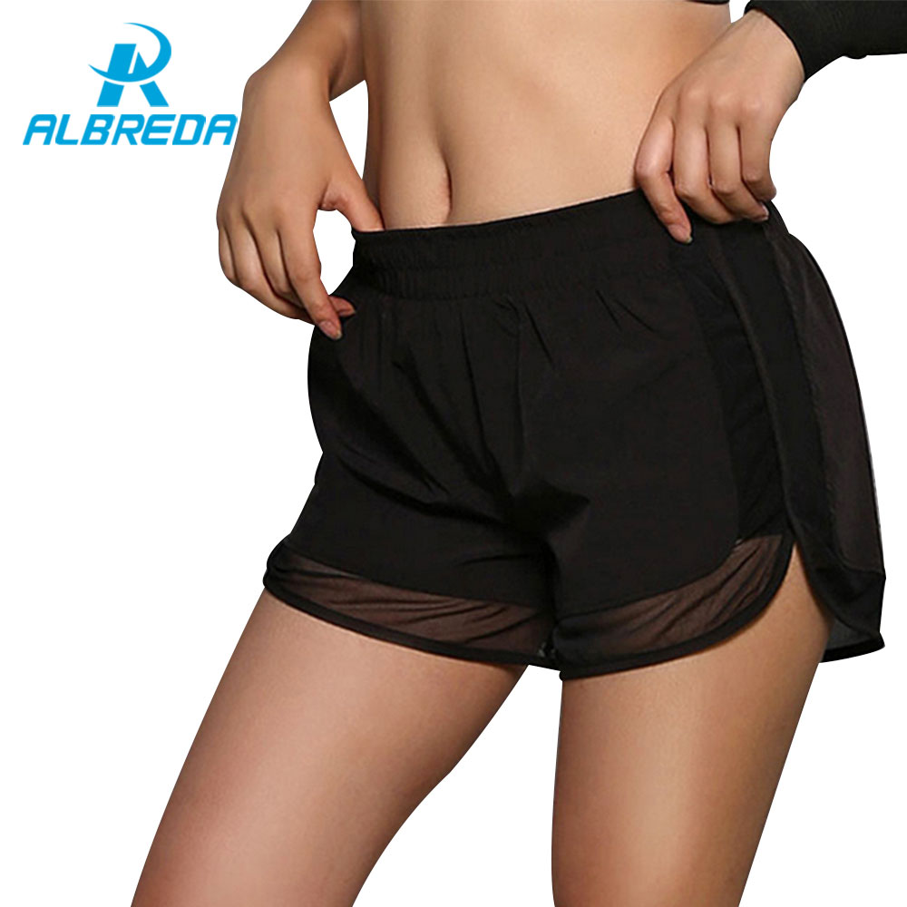 ALBREDA Womens Running Shorts Gym Mesh Shorts 2 In 1 Sport shorts Fitness Ladies Exercise Double Layer Yoga Short Tennis Shorts ...