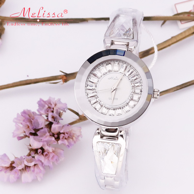 Melissa Lady Women's Watch Japan Quartz Hours Fine Fashion Crystal Bracelet Brand Clock Girl's Luxury Rhinestones Birthday Gift melissa bangle lady women s watch japan quartz mother of pearl hours fine fashion luxury rhinestones clock girl s birthday gift