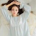 Primavera Outono Sleepwear Mulheres Algodão Novo Design de Manga Comprida Calças de Comprimento Salão Definir Rosa Do Laço Do Vintage Azul Pijamas Set C983