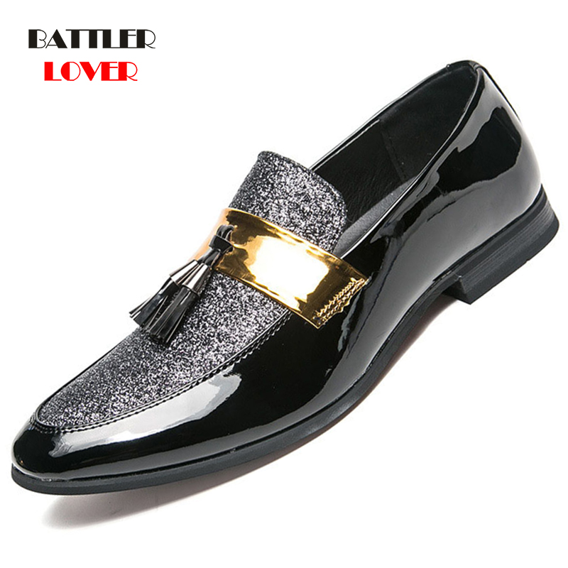 Fashion Men Dress Patent Leather Shoes Flats loafers Sneakers Bussiness Shoes New Mens Casual Classic Oxford Large Size 38-47