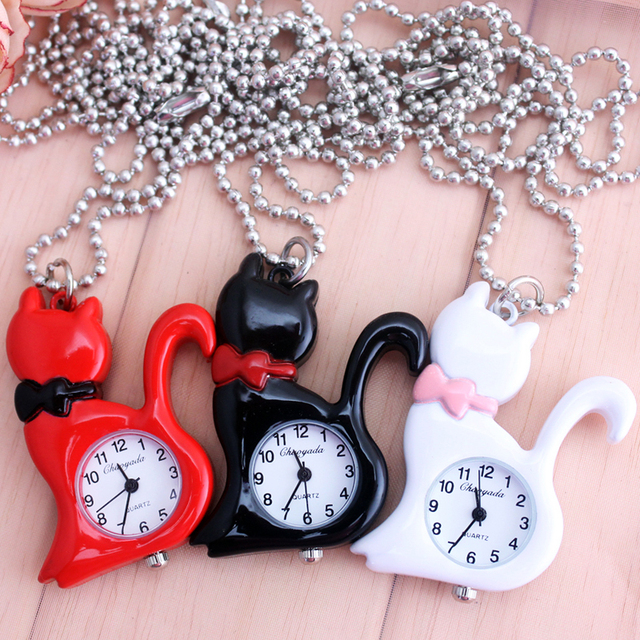 2018 CYD kids ladies women lovely cat pocket watches children necklace jewelry k