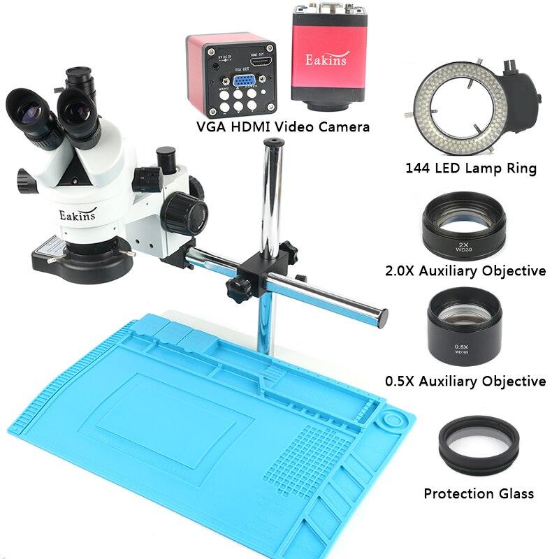 L'industrie 3.5X-90X Simul-focal Trinoculaire Stéréo Microscope VGA HDMI Vidéo Caméra 720 p 13MP Pour Téléphone PCB à souder Réparation Laboratoire