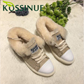 Women Winter Snow Fur Shoes Keep Warm Shoes Plush Lace-up Ankle Shoes Cashmere Casual Leather Round Head Flat Shoes For Female