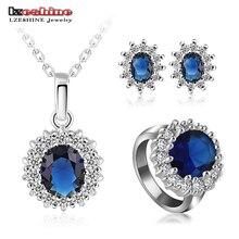Lzeshine nuevo conjunto joyería de la boda de lujo placa de plata las mujeres collar/pendiente/anillo set elegir tamaño del anillo bijoux mariage st0016
