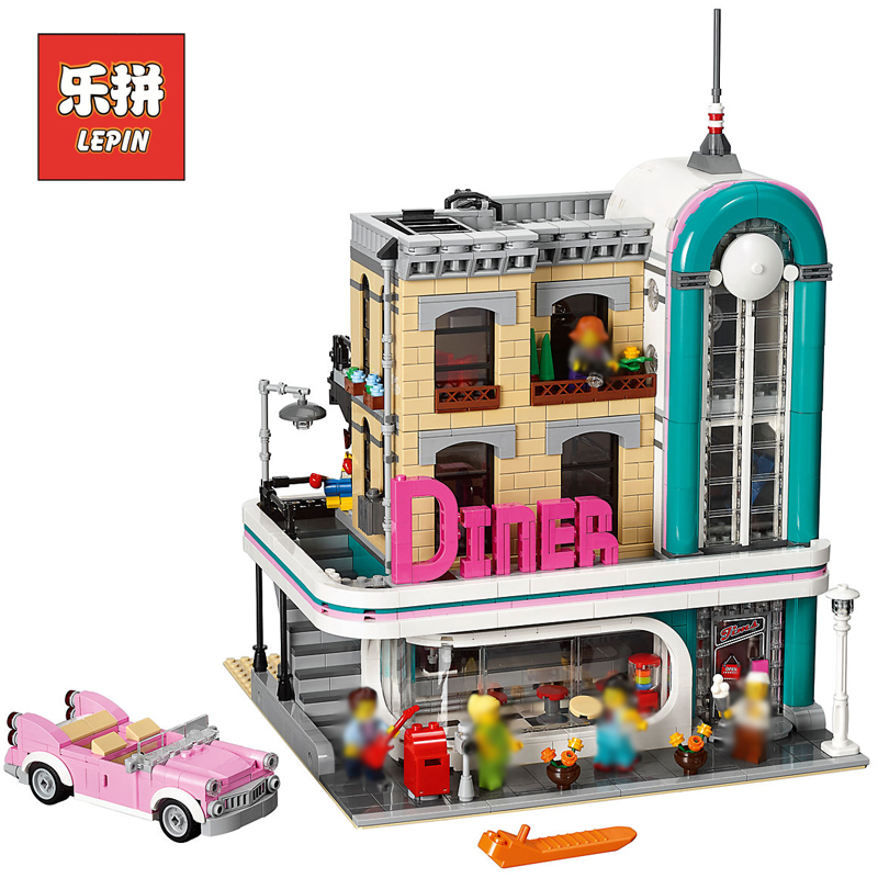 Lepin 15037 City Sreies Streetview Downtown Diner Set Compatible 10260 Model Building Kits Blocks Toys Bricks Gift for Children hot sembo block compatible lepin architecture city building blocks led light bricks apple flagship store toys for children gift