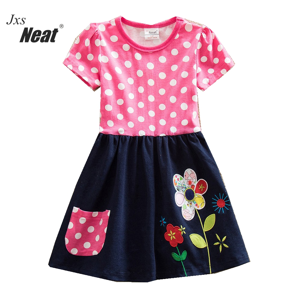 NEAT Summer girl dress 100% Cotton flowers kids dresses for girls Short sleeve A-line dress Children's clothing H5748