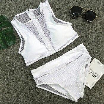 Sexy White Mesh Patchwork 3 Pieces Biquini Set Cut Out Bathing Suit Neck High Waist Swimsuit Swimwear Women Brazilian Bikini 1
