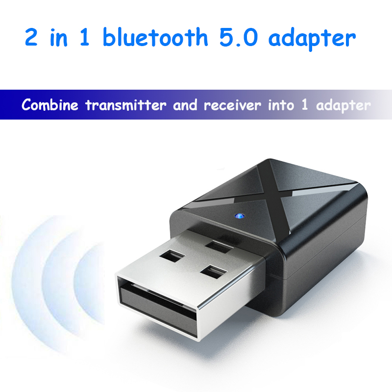 2 In 1 Bluetooth 5.0 Adapter Transmitter Receiver 3.5mm Aux PC TV Car Stereo Headphone Audio Doc Wireless Player Adaptor LYYP
