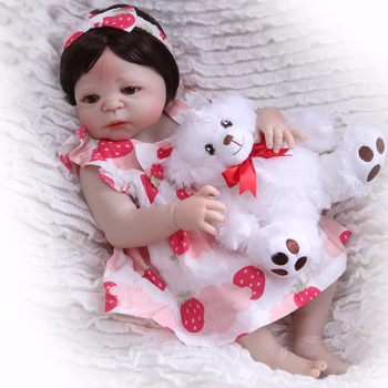 "alive girl Body Silicone vinyl Reborn Baby Doll 22"" fashion princess Newborn Bebe Babies bebe Gift Waterproof Bathe Toy DOLLMAI"