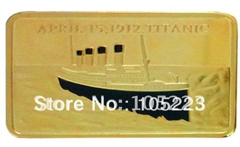 HOT SELL! Free Shipping+Wholesale 20Pcs/Lot 1 OZ .999 Gold-Plated Titanic Bullion Bar, memory of tragedy and white star line.