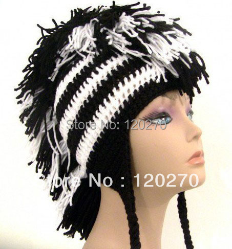 Free Shipping Children Black White Mohawk Hat Baby Boys Girl Winter Skull  Love Angel Wings Crochet Striped Beanie Earflap Custom 75d4ed80b47