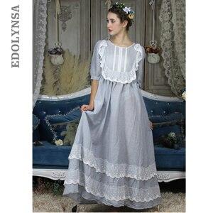 Image 1 - בציר אירופאי ארמון סגנון כתונת לילה ארוך כותנה הלבשת נשים תחרה לפרוע אפליקציות משובץ לילה ללבוש ויקטוריאני שמלת T296