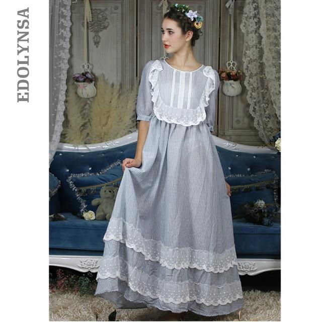 בציר אירופאי ארמון סגנון כתונת לילה ארוך כותנה הלבשת נשים תחרה לפרוע אפליקציות משובץ לילה ללבוש ויקטוריאני שמלת T296