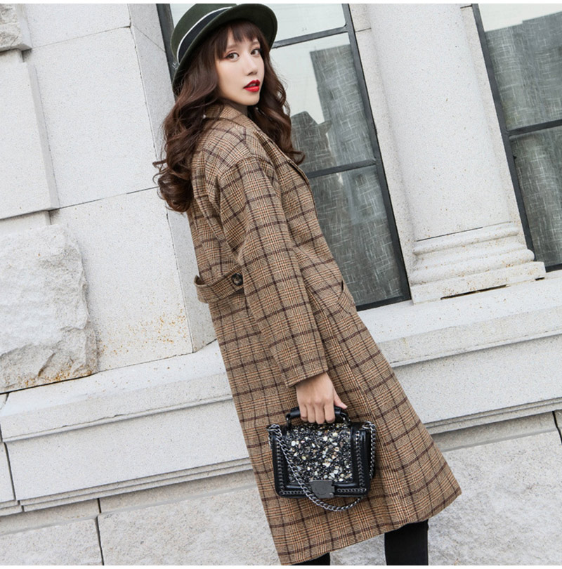 Winter Check Velvet Coat Female Notched Warm checkered Woolen Women's Coats Fleece Office Lady 19 Vintage Long Overcoat Woman 7