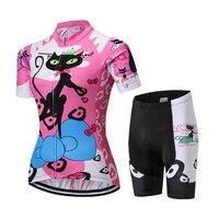 2016 Women Cycling Jersey Shorts Pink Cats Bike jersey Sets Pro Bike clothing Girl Top short sleeve bike wear bicycle Shirts