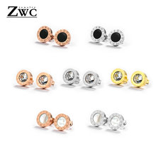 ZWC High Quality Stainless Steel Crystal Stud Earrings for Women Men Party Rose Gold Fashion Roman Number Round Earring Jewelry(China)