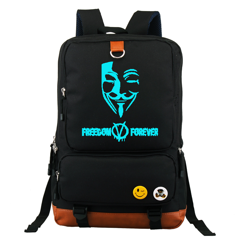 ФОТО V for Vendetta Printed Backpack School Bag Large Size 16 inch Laptop Bag Xmas Gift Boys Girls Large Capacity