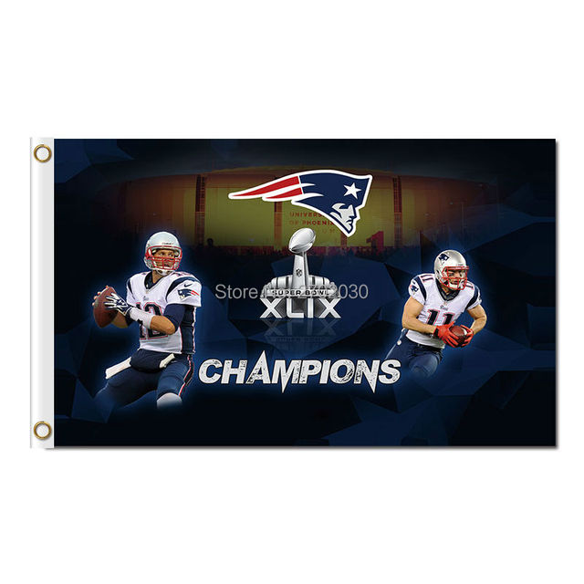 XLIX Tom Brady New England Patriots Flag Julian Edelman Banners 3ft X 5ft Banner Super Bowl World Champions 100D Polyester Flag
