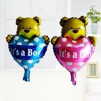 Boda los días de San Valentín corazón decoración oso helio globos mini de aluminio globo impreso es un niño y niña globo de la hoja