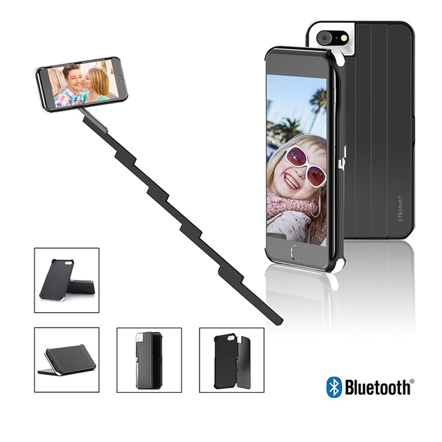 on sale 05cd3 68025 US $11.82 47% OFF|Mini Selfie Stick With Button Two in one phone case  Handle Monopod Universal For iPhone X 7 8 Plus phone case Selfie Sticks-in  ...