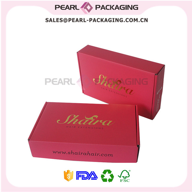 Fuschia Color Gold Stamp Logo Hair Packaging Box, Size 9.5\