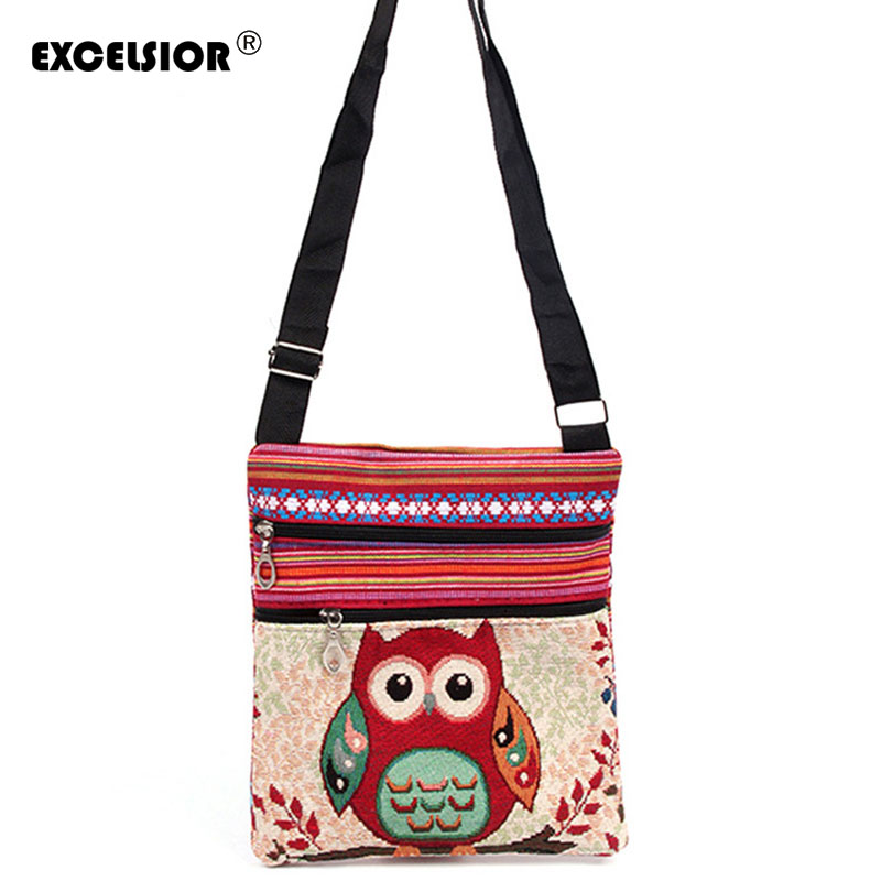 EXCELSIOR Cute Owl Printed Canvas Crossbody Shoulder Bags Summer Female Casual Canvas Bags Owl Design embroidery Messenger Bag miyahouse summer women messenger bags canvas leather cartoon owl printed crossbody shoulder bags small ladies flap bag casual