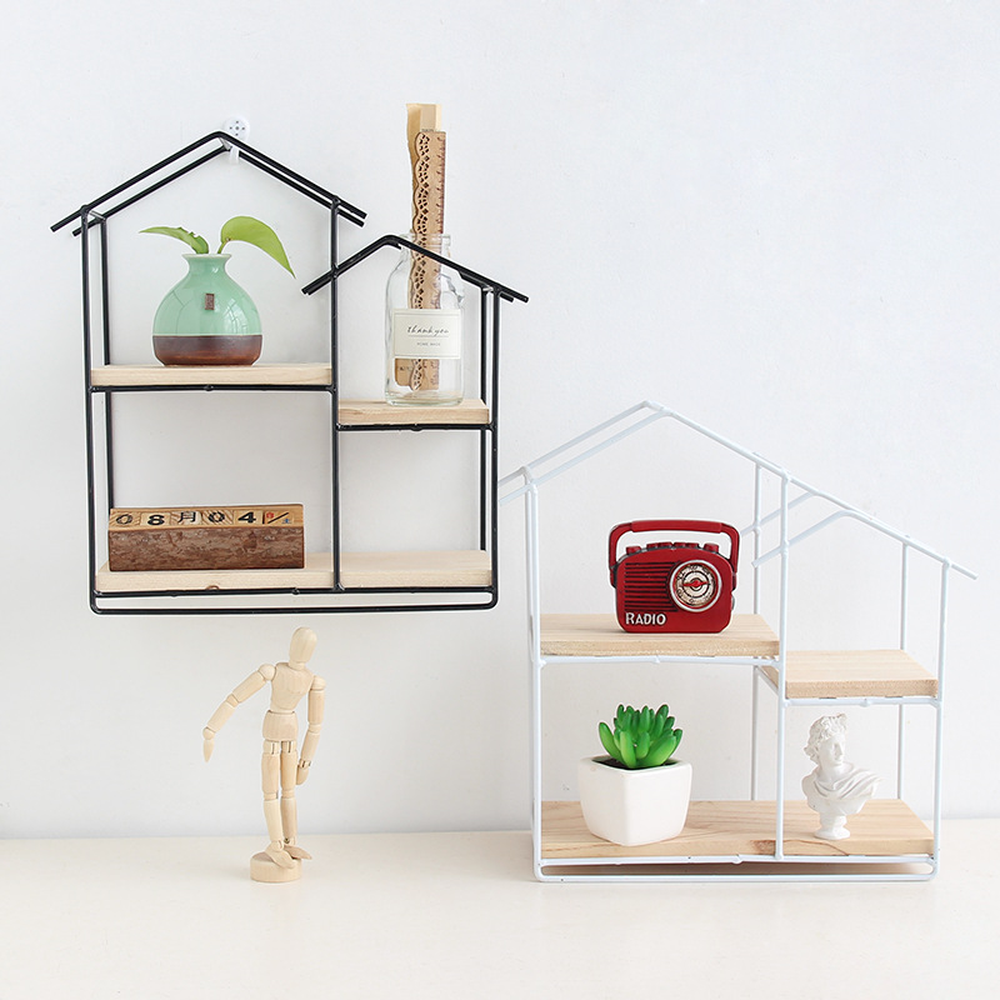 new Year's gift birthday party Gift Iron shelve Home Decorative Shelves Iron house Wall Shelf wall mount storage boxLM011716005
