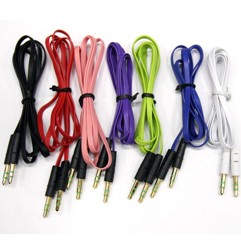 HOT SALE New 1M 3.5mm Auxiliary Cable Audio Cable Male To Male Flat Aux Cable Car player to connect with audio device baseus fluency series aux audio cable car cable connect with phone